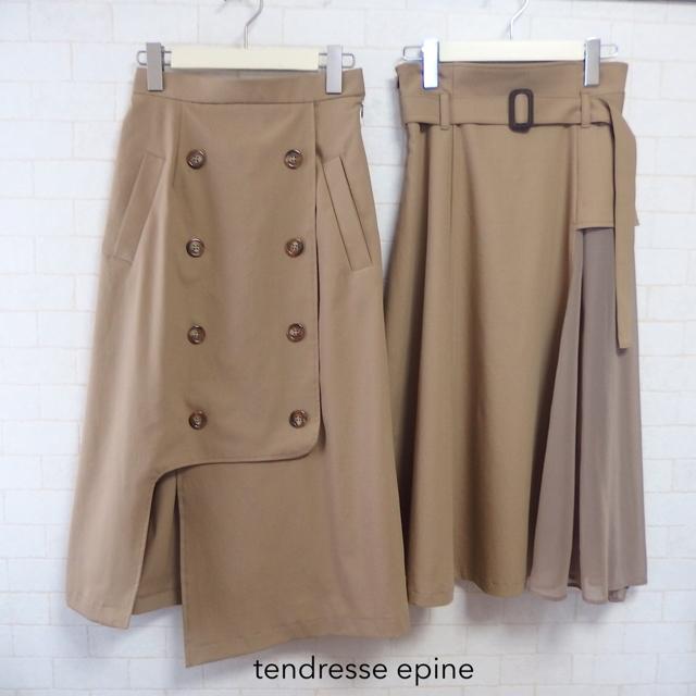 大人フェミニンファッション,30代,トレンチ風アシメスリットスカート,トレンチ風アシメフレアスカート