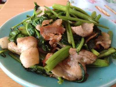 空芯菜と豚肉炒め