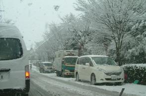 雪に降られて立ち往生