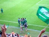 逆転ゴールを決め大喜びするサウジアラビア
