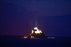 モンサンミッシェルの岬から見た夜景