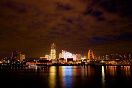 横浜/大桟橋埠頭、みなとみらい全館点灯、原色横浜図鑑