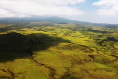 ハワイ島空撮、東部に近づくと緑が豊かに