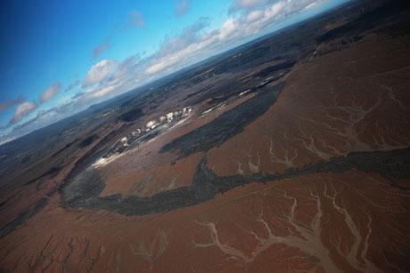 ハワイ島空撮、キラウェア火山、火口