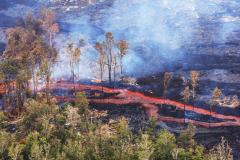 ハワイ島空撮、キラウェア火山、溶岩流