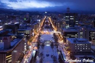 札幌、テレビ塔、展望台、大通公園、夜景