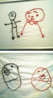 刺繍で子供の絵をアート画像