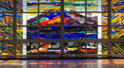 ステンドグラスの桜島