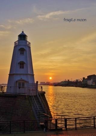 旧堺灯台の日没