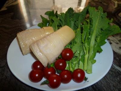ゆで筍と菜の花ミニトマト