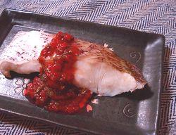 蒸し鯛の梅紫蘇ソース