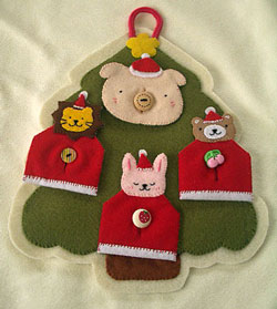 クリスマスツリーの動物サンタ手作りボタン練習