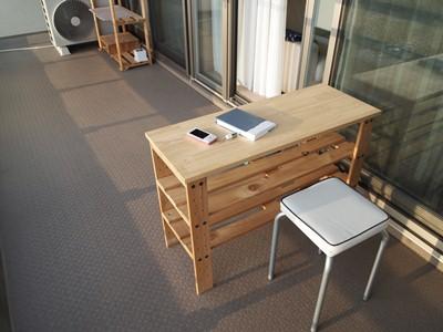 ベランダのテーブル