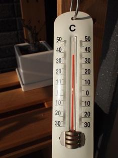 ベランダの温度計