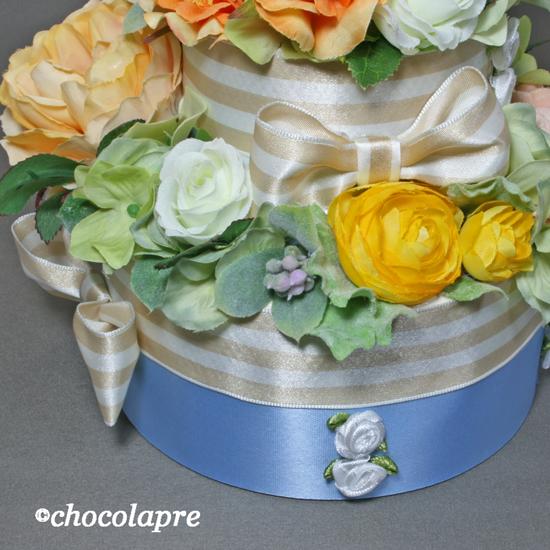 フラワーデコレーションケーキ リボン&ミニバラ飾りイエロー