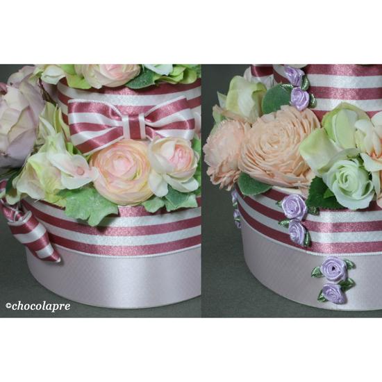 フラワーデコレーションケーキ リボン&ミニバラ飾りピンク