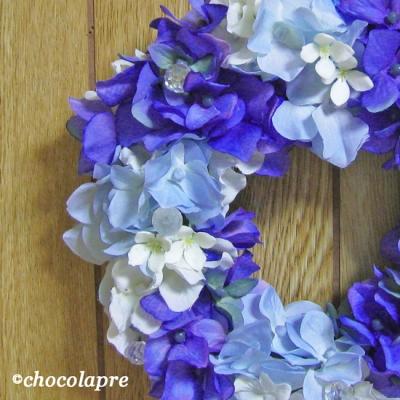 レインドロップ 紫陽花リース