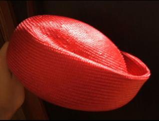 手作り帽子 レッド帽体