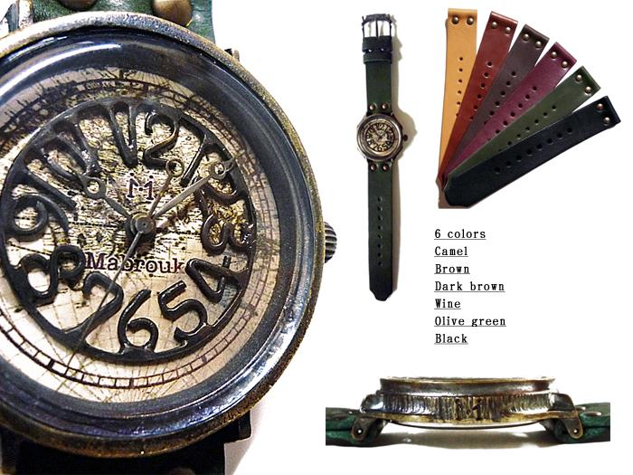 世界地図 アンティーク 腕時計