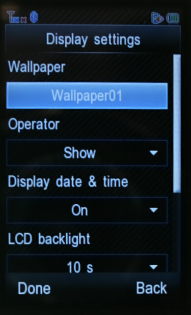 SH6120CT Display Settings