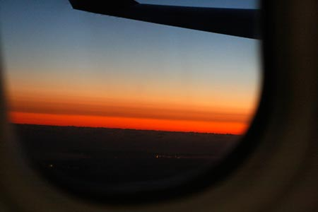 機内からの夕焼け