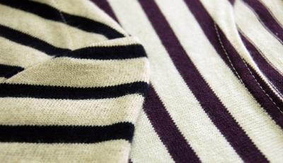 バスクシャツ パープルボーダー