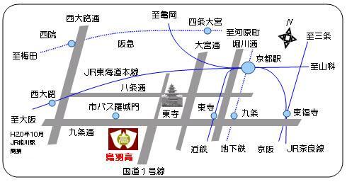 京都府立鳥羽高校へのアクセス地図