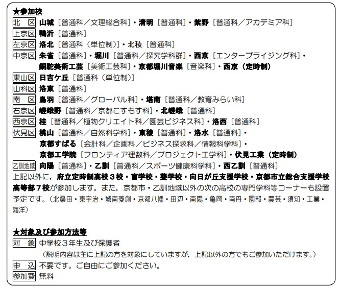 京都市・乙訓地域公立高等学校合同説明会2019参加高校