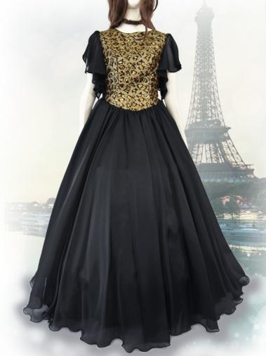ヒョウ柄袖付きブラックドレス