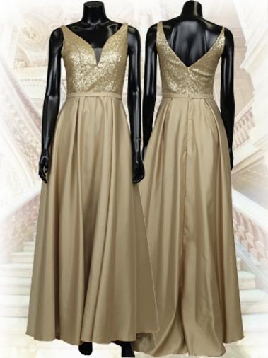 ゴールドノースリーブドレス