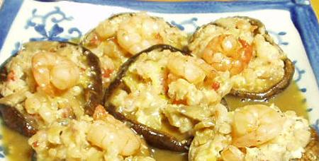 海老と豆腐の椎茸蒸し