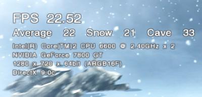 平均 FPS 22