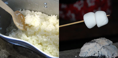 飯盒炊飯と焼きマシュマロ