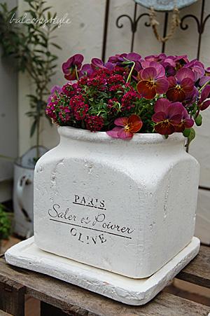 ピンク花のインクポット