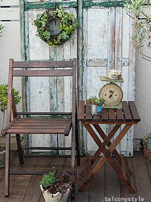 木製ミニテーブルチェアセットブラウン