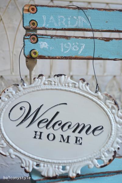 ホワイトWelcome HOMEサイン