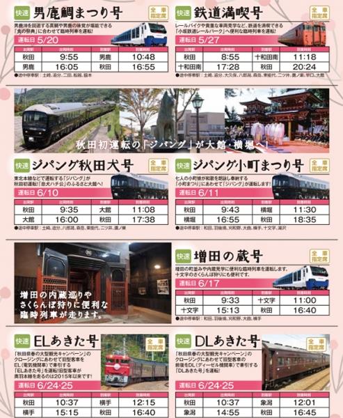 春の臨時列車情報
