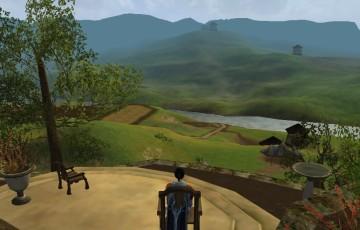 お山のテラスから水の辺村方面を見下ろす
