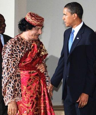 カダフィとオバマ