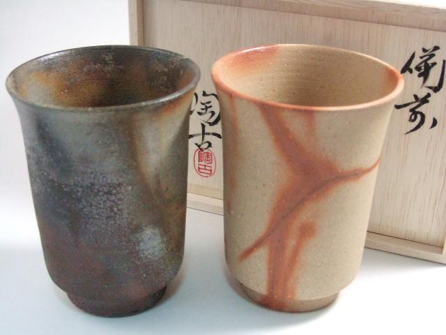 備前焼のペアカップ