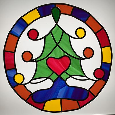 クリスマスツリーのウィンドウアート
