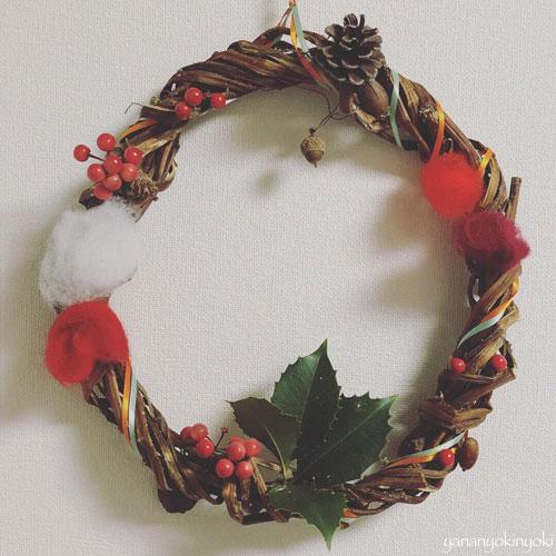 息子の作ったクリスマスリースとクリスマスメニュー
