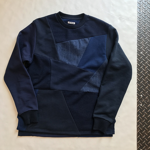 H.R.REMAKE SWEAT DENIM PTW CREW NECK.jpg