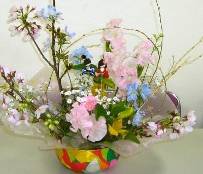 春らんまんの生花アレンジメント