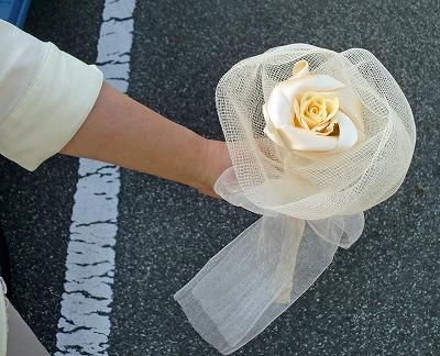講習会にて作った花束のラッピングです!