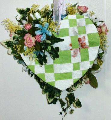 ハートの造花のアレンジメント