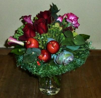 クリスマスの生花の花束