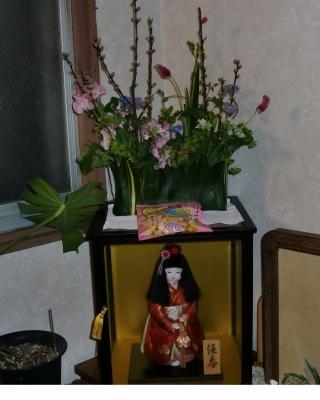 器を作る葉物で生花アレンジメント