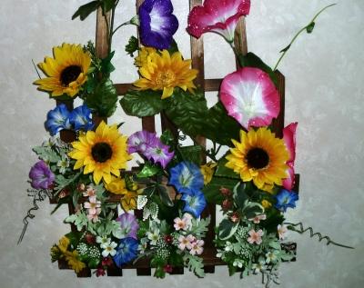 造花のアサガオのドア飾り
