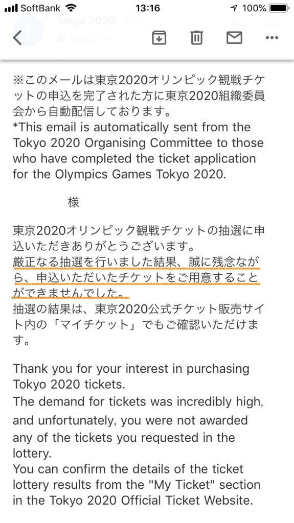 オリンピックチケット抽選結果